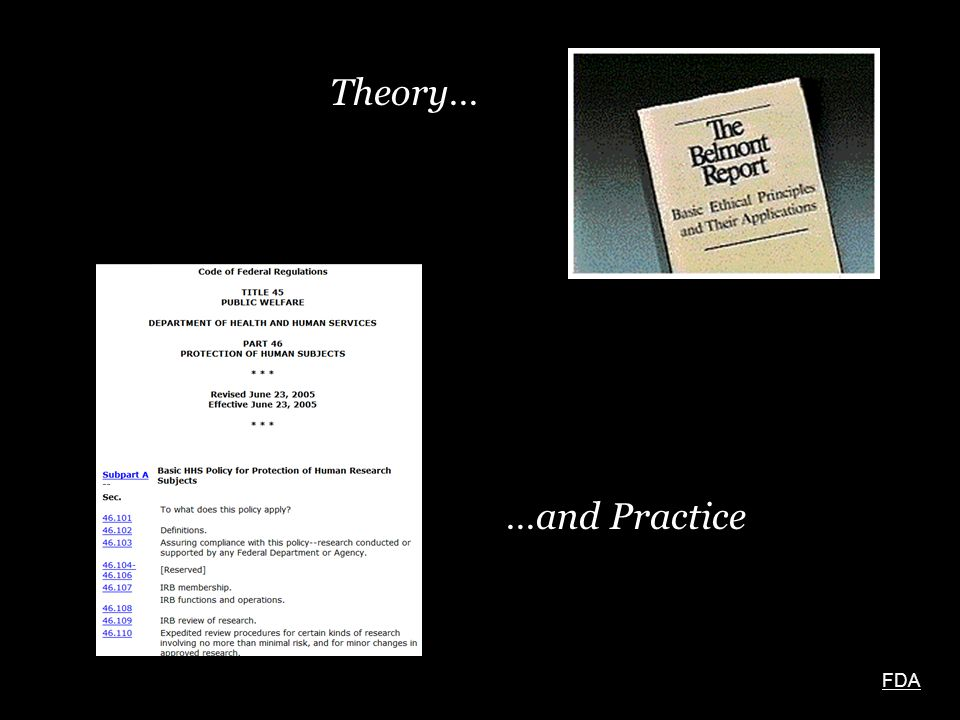 Theory… …and Practice FDA