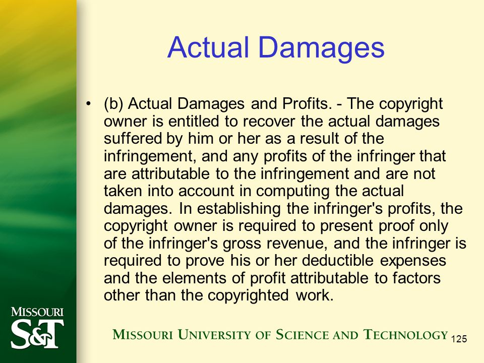 125 Actual Damages (b) Actual Damages and Profits.