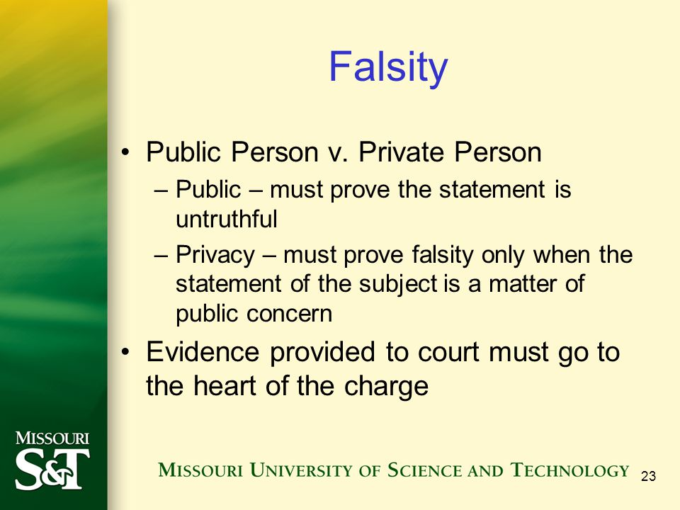 Falsity Public Person v.