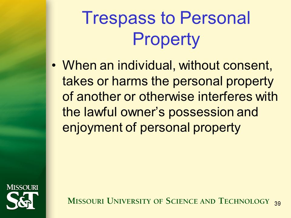 39 Trespass to Personal Property When an individual, without consent, takes or harms the personal property of another or otherwise interferes with the lawful owner's possession and enjoyment of personal property