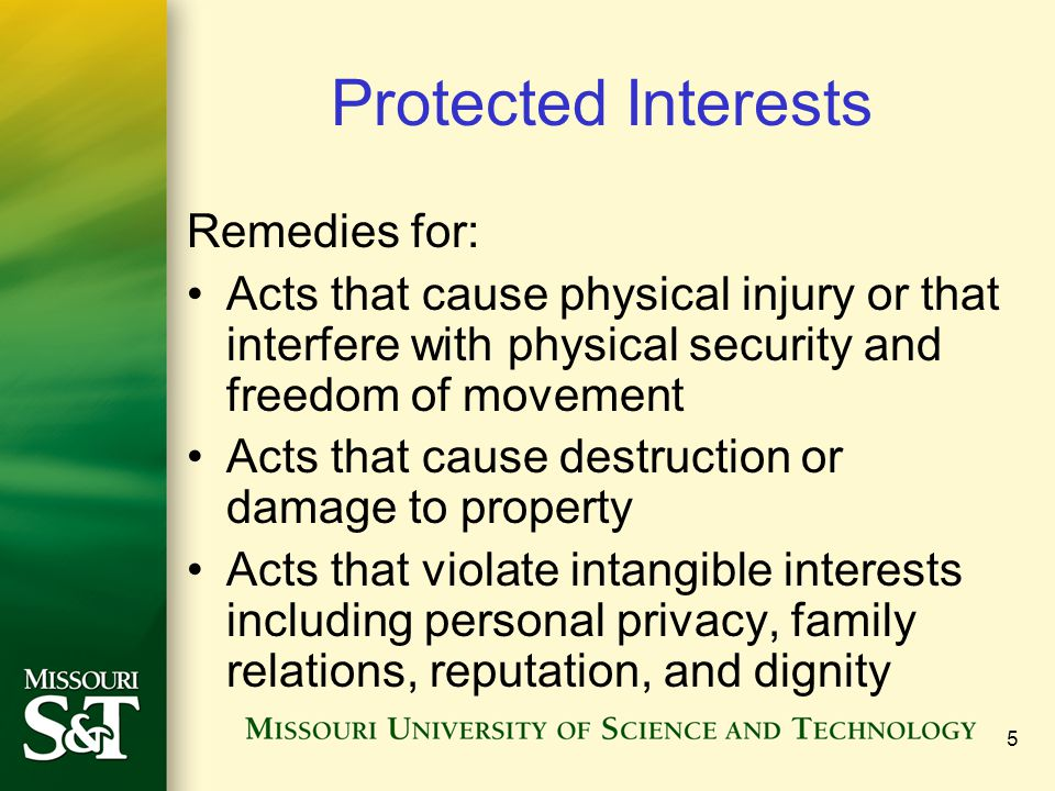 5 Protected Interests Remedies for: Acts that cause physical injury or that interfere with physical security and freedom of movement Acts that cause destruction or damage to property Acts that violate intangible interests including personal privacy, family relations, reputation, and dignity