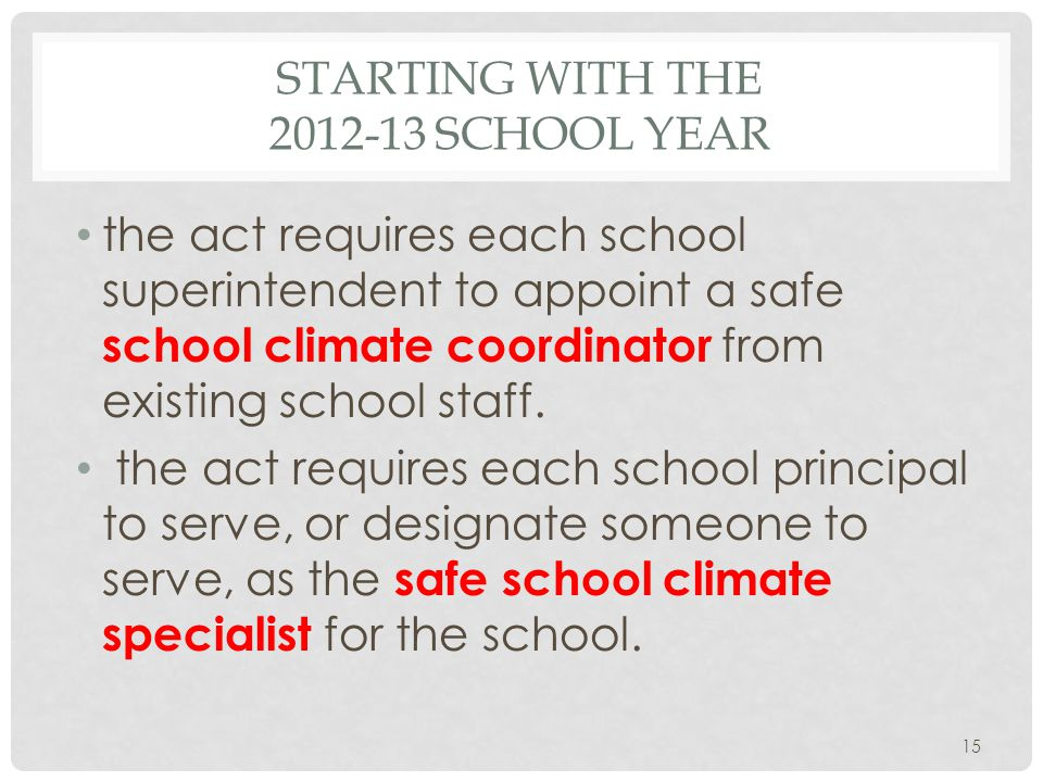 STARTING WITH THE SCHOOL YEAR the act requires each school superintendent to appoint a safe school climate coordinator from existing school staff.