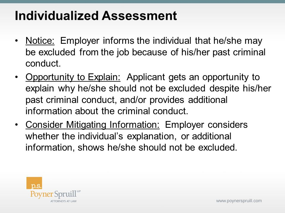 Individualized Assessment Notice: Employer informs the individual that he/she may be excluded from the job because of his/her past criminal conduct.