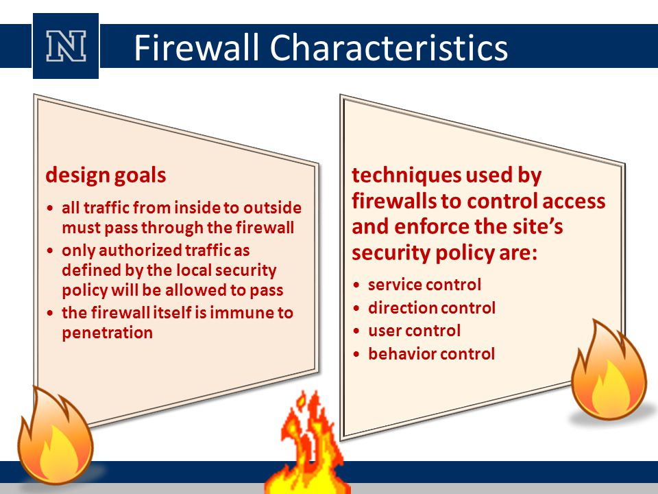 Firewall Characteristics design goals all traffic from inside to outside must pass through the firewall only authorized traffic as defined by the local security policy will be allowed to pass the firewall itself is immune to penetration design goals all traffic from inside to outside must pass through the firewall only authorized traffic as defined by the local security policy will be allowed to pass the firewall itself is immune to penetration techniques used by firewalls to control access and enforce the site's security policy are: service control direction control user control behavior control techniques used by firewalls to control access and enforce the site's security policy are: service control direction control user control behavior control
