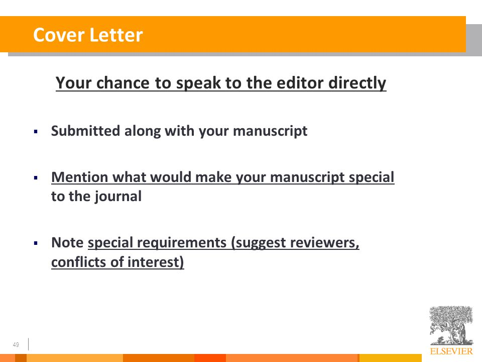 """cover letter article submission elsevier Sample cover letter for submission of a paper to an spie journal [your name] [your affiliation] [your address] [date] dear dr [editor name], i/we wish to submit a new manuscript entitled """"[title of article]"""" for consideration by the [journal name]."""