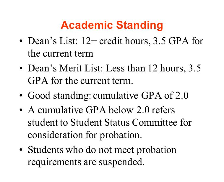 Academic Standing Dean's List: 12+ credit hours, 3.5 GPA for the current term Dean's Merit List: Less than 12 hours, 3.5 GPA for the current term.