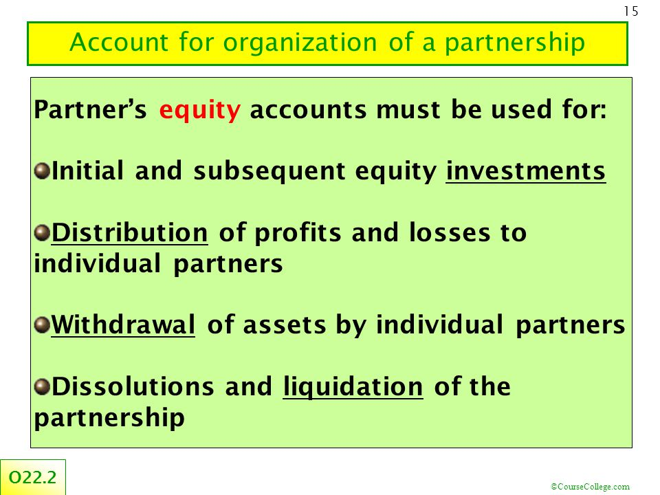©CourseCollege.com 15 Account for organization of a partnership O22.2 Partner's equity accounts must be used for: Initial and subsequent equity investments Distribution of profits and losses to individual partners Withdrawal of assets by individual partners Dissolutions and liquidation of the partnership