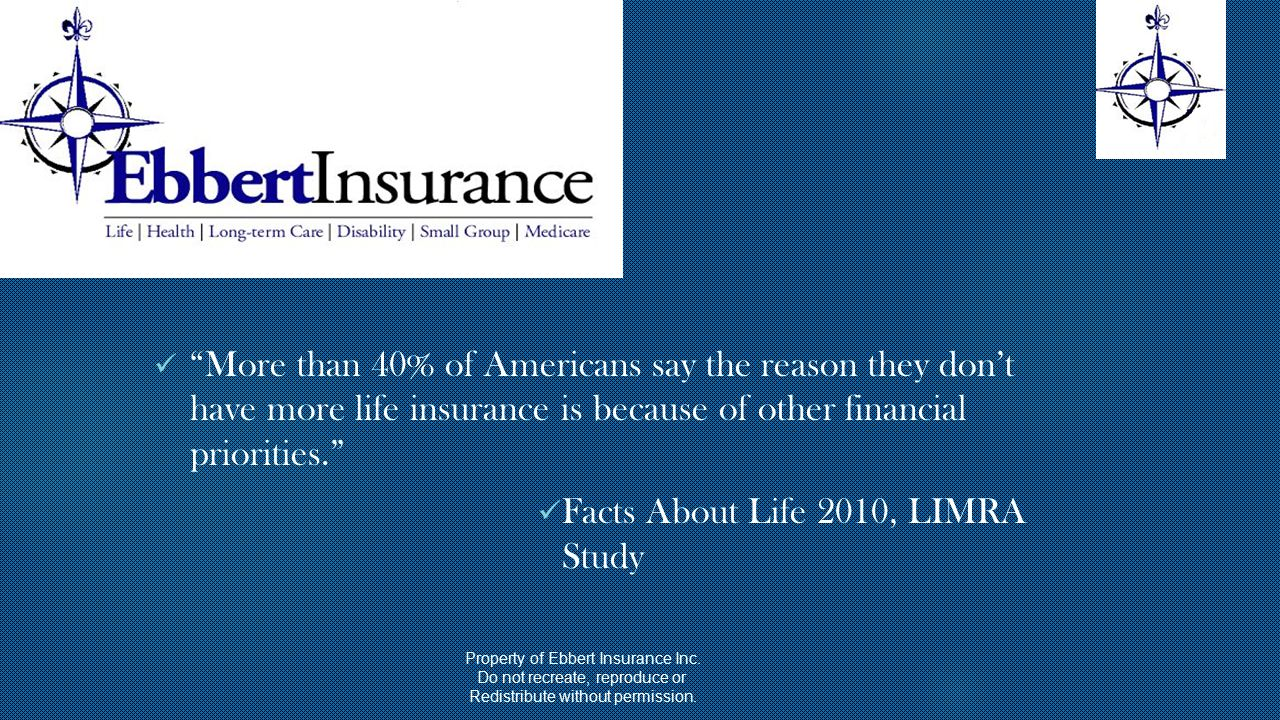 More than 40% of Americans say the reason they don't have more life insurance is because of other financial priorities. Facts About Life 2010, LIMRA Study Property of Ebbert Insurance Inc.