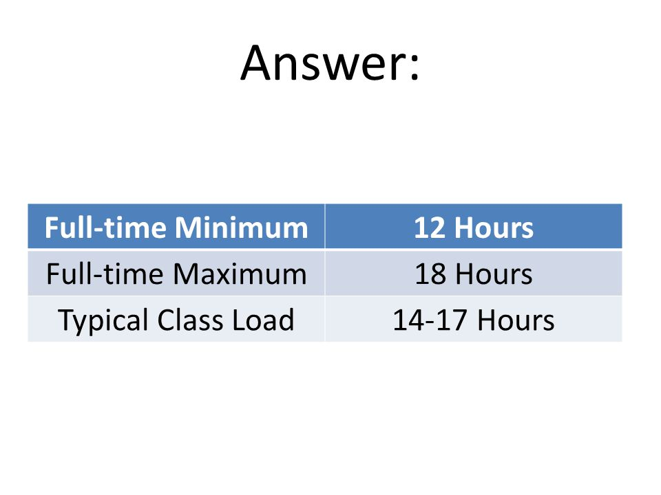 Answer: Full-time Minimum12 Hours Full-time Maximum18 Hours Typical Class Load14-17 Hours