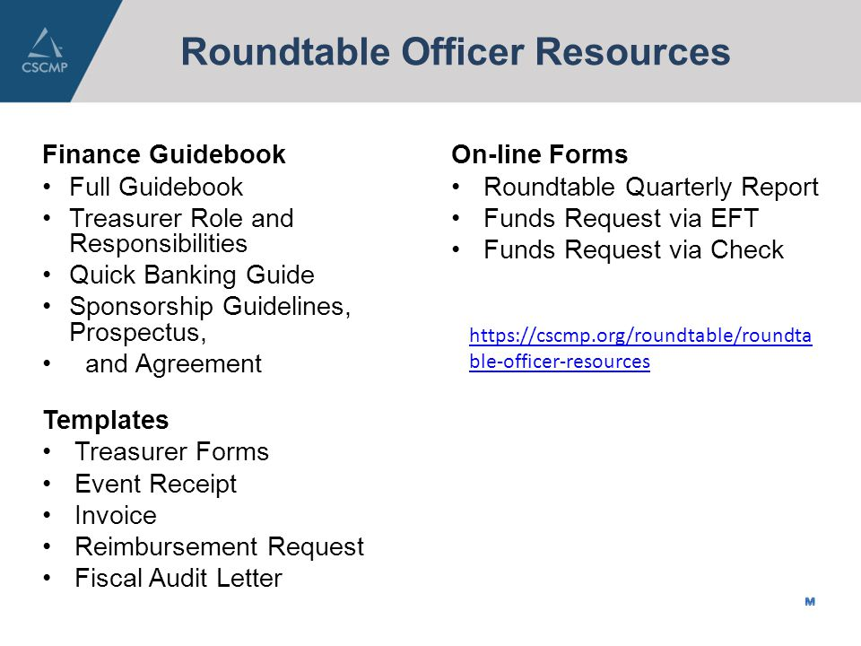 Roundtable Treasurer One Cscmp. Agenda & Acronyms Agenda People To