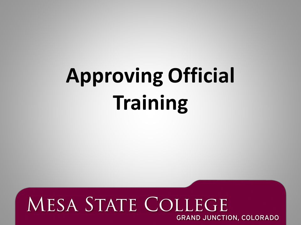 Approving Official Training