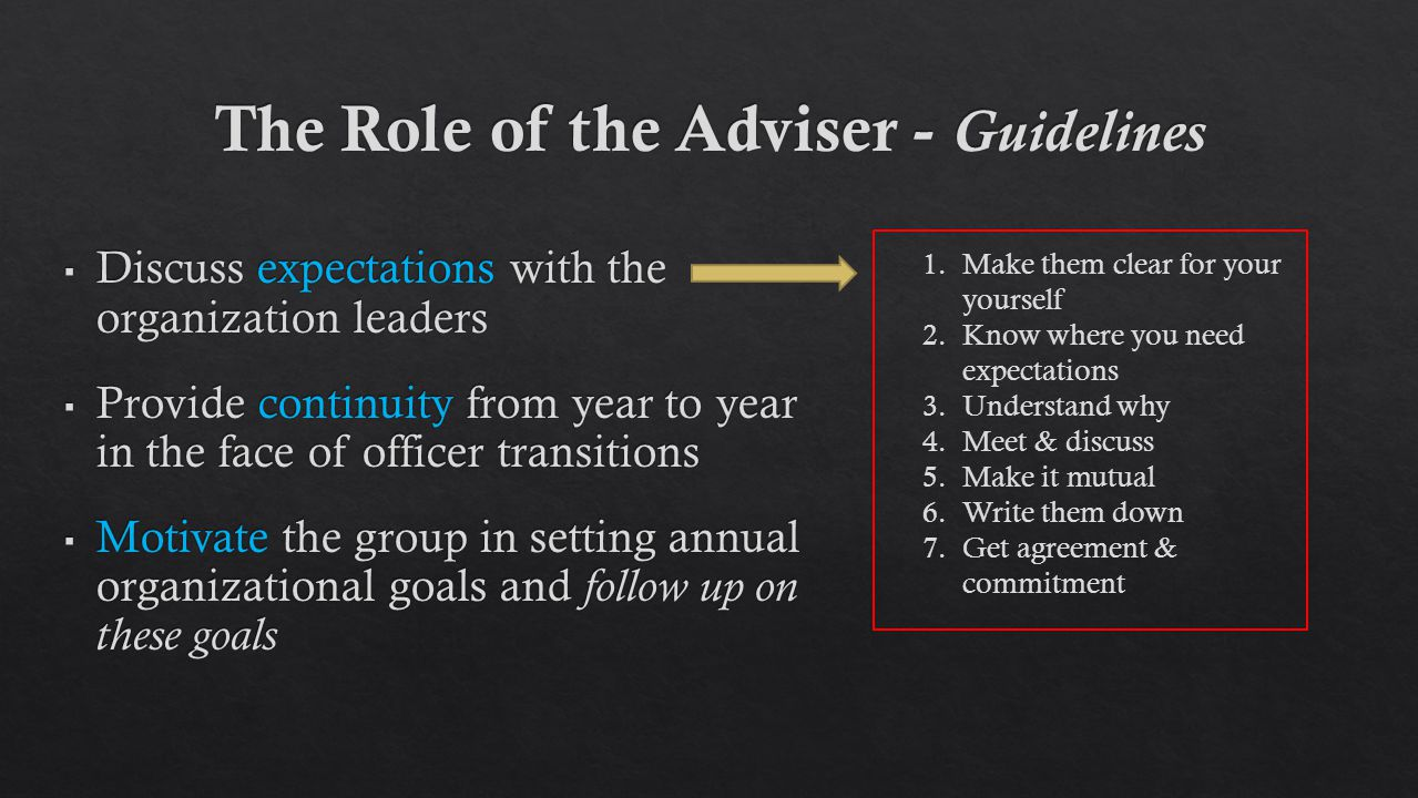 1.Make them clear for your yourself 2.Know where you need expectations 3.Understand why 4.Meet & discuss 5.Make it mutual 6.Write them down 7.Get agreement & commitment