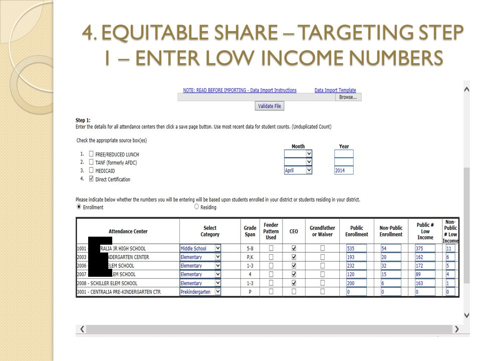 4. EQUITABLE SHARE – TARGETING STEP 1 – ENTER LOW INCOME NUMBERS