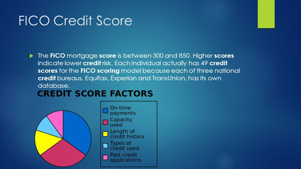 FICO Credit Score  The FICO mortgage score is between 300 and 850.