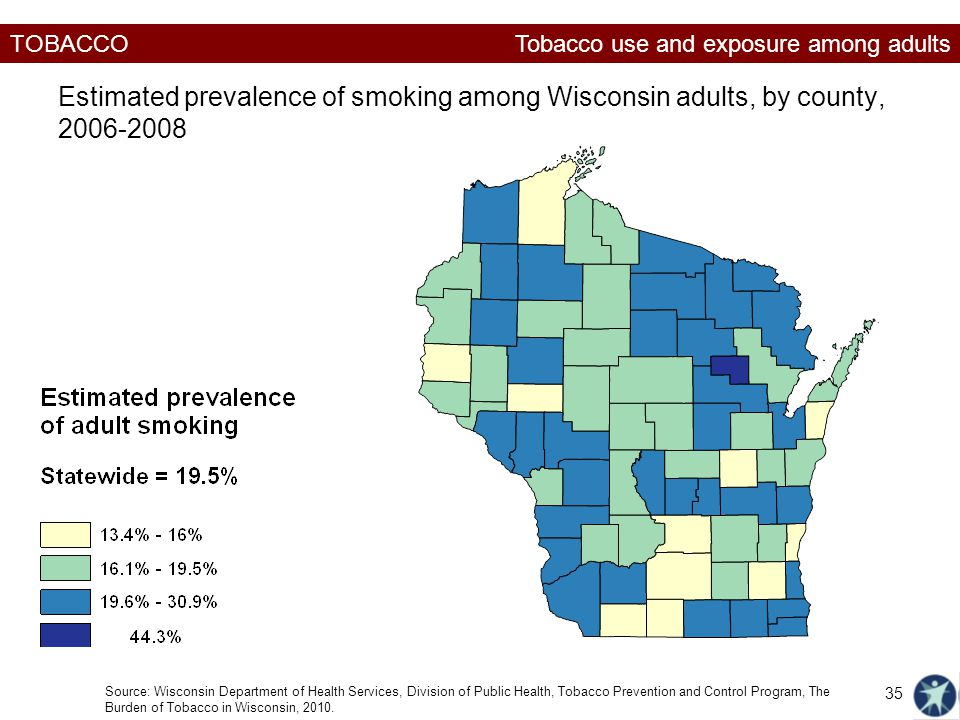 TOBACCO Estimated prevalence of smoking among Wisconsin adults, by county, Source: Wisconsin Department of Health Services, Division of Public Health, Tobacco Prevention and Control Program, The Burden of Tobacco in Wisconsin, 2010.