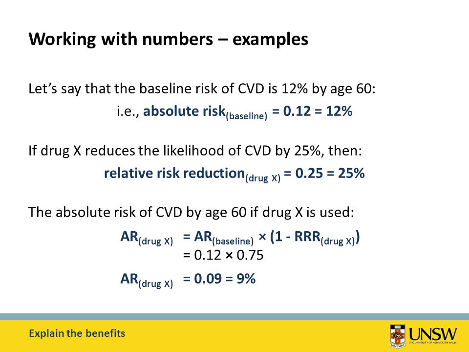 Working with numbers – examples Let's say that the baseline risk of CVD is 12% by age 60: i.e., absolute risk (baseline) = 0.12 = 12% If drug X reduces the likelihood of CVD by 25%, then: relative risk reduction (drug X) = 0.25 = 25% The absolute risk of CVD by age 60 if drug X is used: Explain the benefits AR (drug X) = AR (baseline) × (1 - RRR (drug X) ) = 0.12 × 0.75 AR (drug X) = 0.09 = 9%