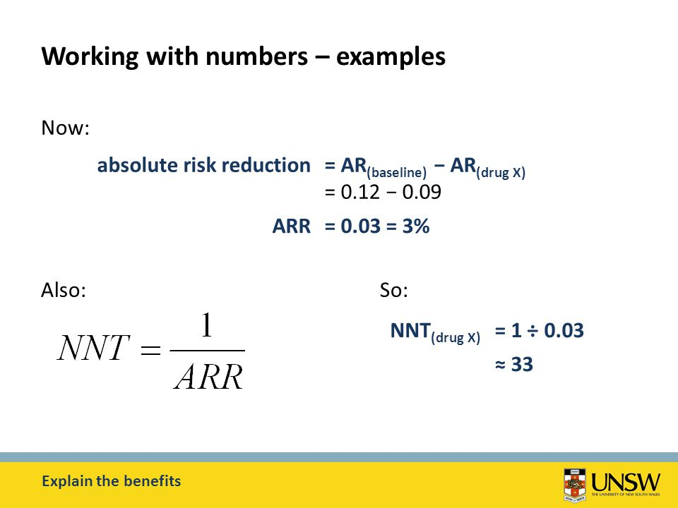 Working with numbers – examples Now: Also:So: Explain the benefits absolute risk reduction= AR (baseline) − AR (drug X) = 0.12 − 0.09 ARR= 0.03 = 3% NNT (drug X) = 1 ÷ 0.03 ≈ 33