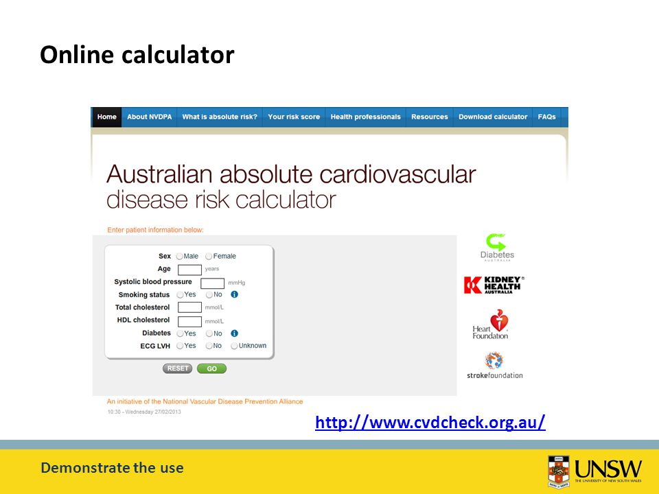 Online calculator Demonstrate the use