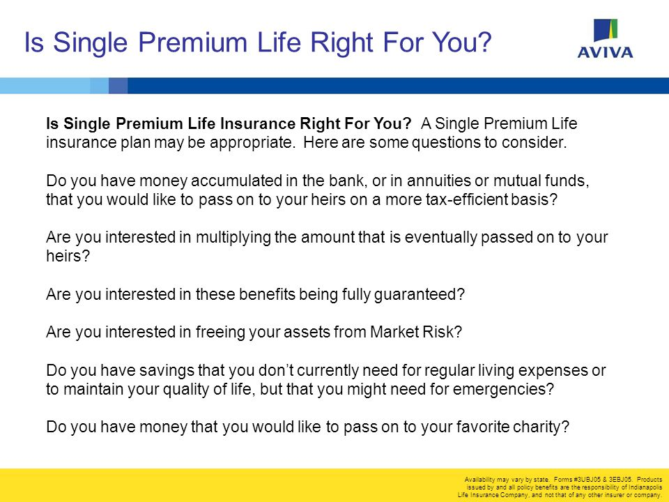 Is Single Premium Life Right For You. Availability may vary by state.