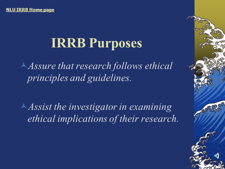 IRRB Presentation Purposes Responsibilities Processes NLU IRRB Home page