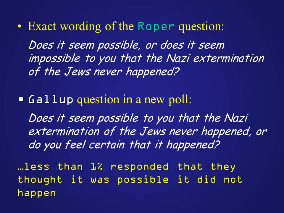 RoperExact wording of the Roper question: Does it seem possible, or does it seem impossible to you that the Nazi extermination of the Jews never happened.