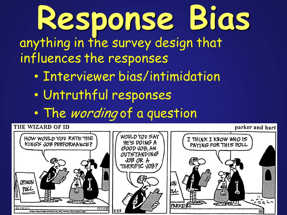 anything in the survey design that influences the responses Interviewer bias/intimidation Untruthful responses The wording of a question Response Bias