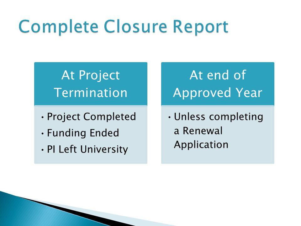 At Project Termination Project Completed Funding Ended PI Left University At end of Approved Year Unless completing a Renewal Application