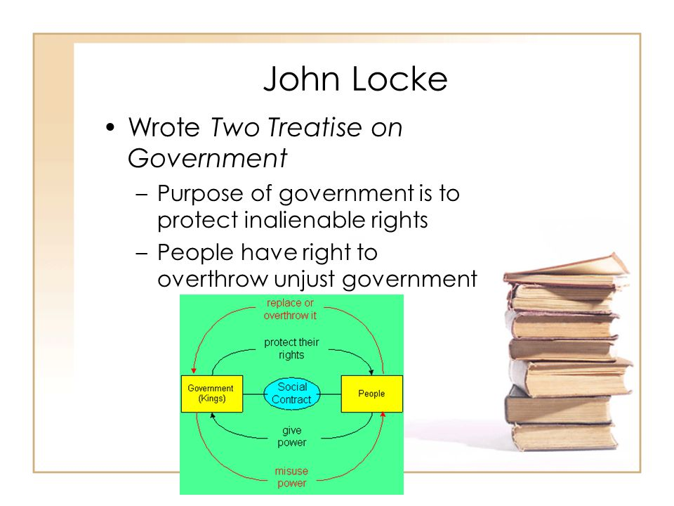 John Locke Wrote Two Treatise on Government –Purpose of government is to protect inalienable rights –People have right to overthrow unjust government