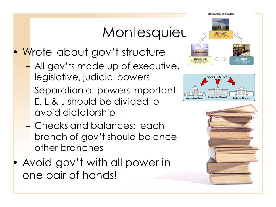 Montesquieu Wrote about gov't structure –All gov'ts made up of executive, legislative, judicial powers –Separation of powers important: E, L & J should be divided to avoid dictatorship –Checks and balances: each branch of gov't should balance other branches Avoid gov't with all power in one pair of hands!