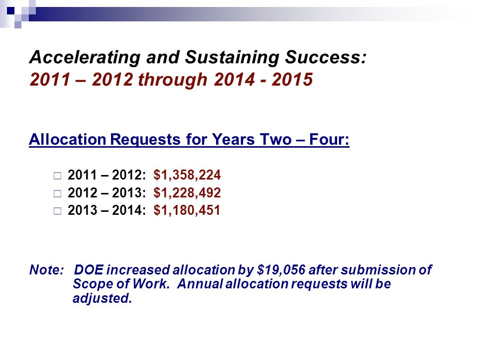 Accelerating and Sustaining Success: 2011 – 2012 through Allocation Requests for Years Two – Four:  2011 – 2012: $1,358,224  2012 – 2013: $1,228,492  2013 – 2014: $1,180,451 Note: DOE increased allocation by $19,056 after submission of Scope of Work.