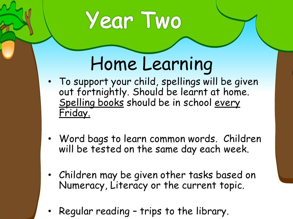 Home Learning To support your child, spellings will be given out fortnightly.