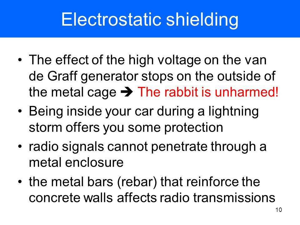 9 Electrostatic shielding The metal cage protects the rabbit