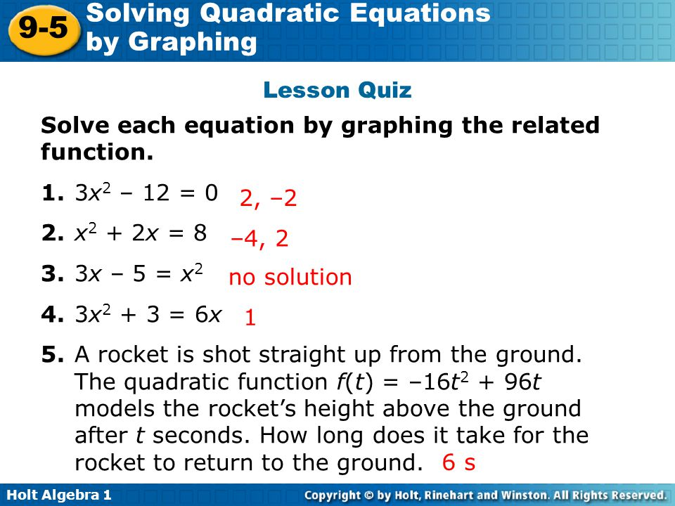 Holt Mcdougal Algebra 2 Solving Quadratic Equations By Graphing – Holt Algebra 2 Worksheet Answers