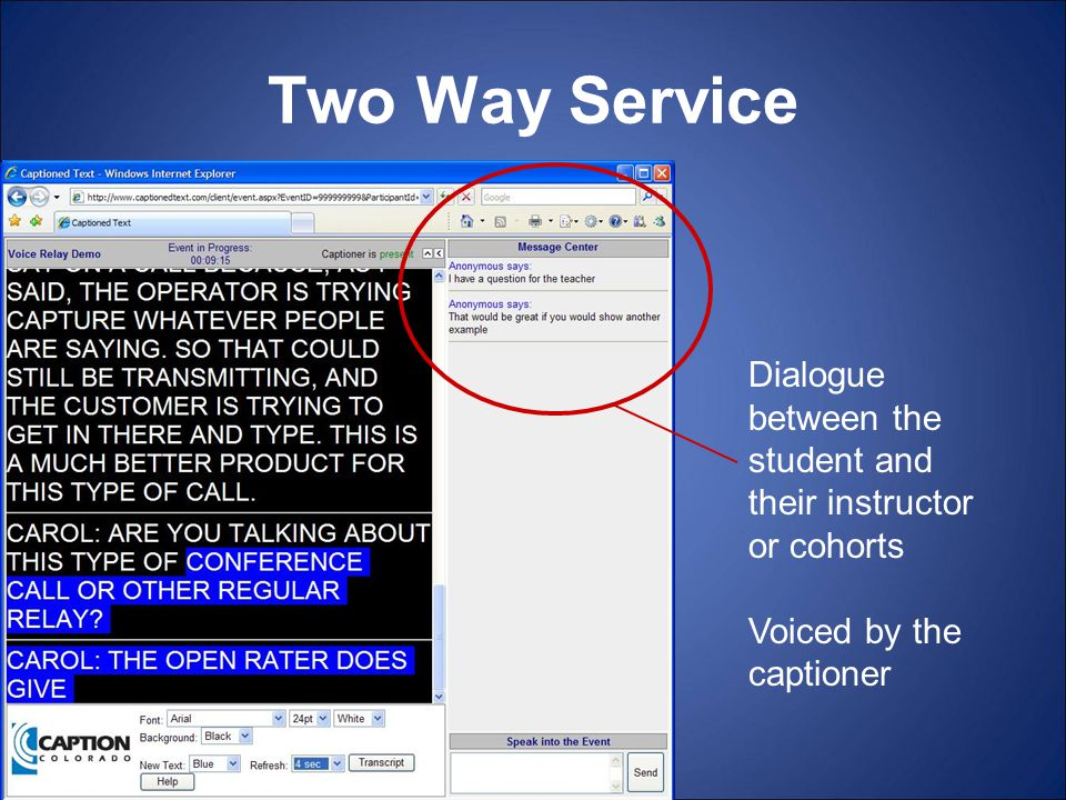Two Way Service Dialogue between the student and their instructor or cohorts Voiced by the captioner