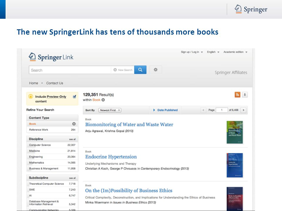 The new SpringerLink has tens of thousands more books