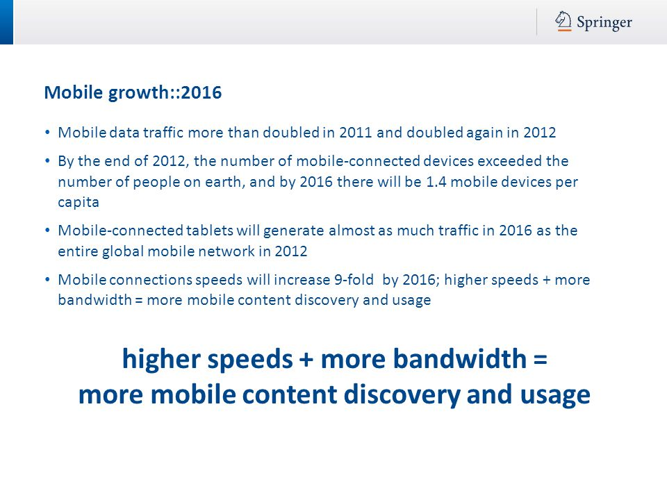 Mobile growth::2016 higher speeds + more bandwidth = more mobile content discovery and usage Mobile data traffic more than doubled in 2011 and doubled again in 2012 By the end of 2012, the number of mobile-connected devices exceeded the number of people on earth, and by 2016 there will be 1.4 mobile devices per capita Mobile-connected tablets will generate almost as much traffic in 2016 as the entire global mobile network in 2012 Mobile connections speeds will increase 9-fold by 2016; higher speeds + more bandwidth = more mobile content discovery and usage