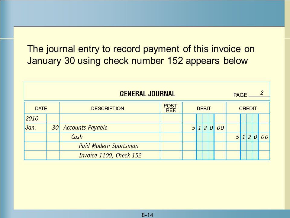8-14 The journal entry to record payment of this invoice on January 30 using check number 152 appears below
