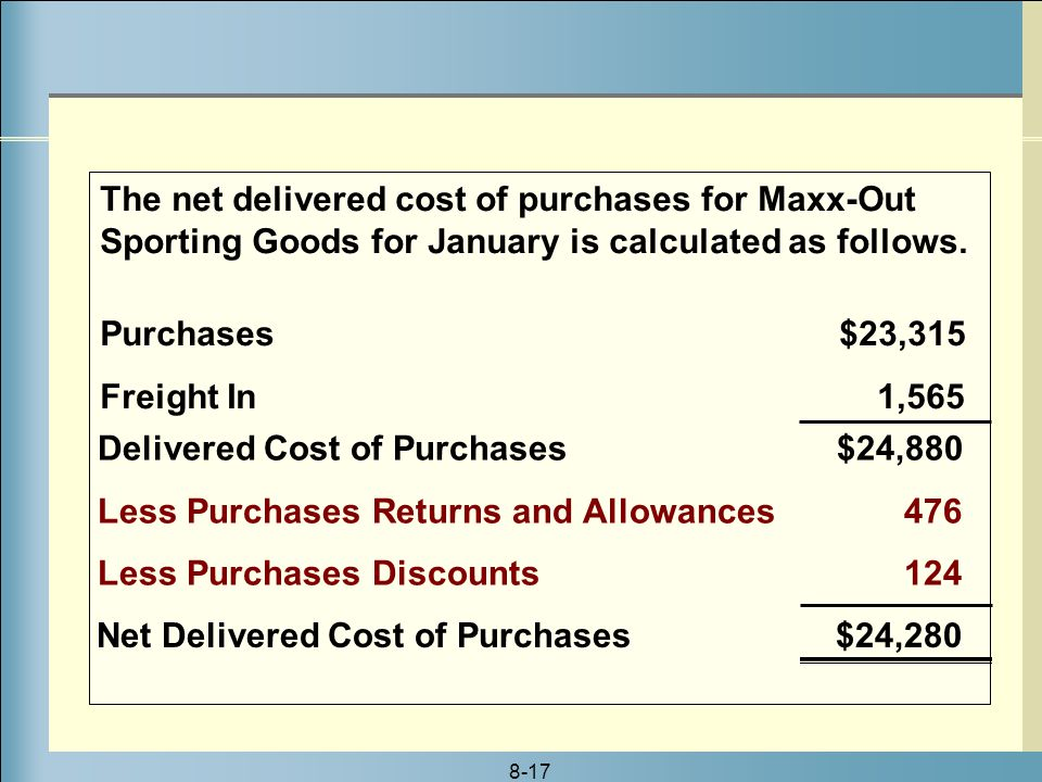 8-17 The net delivered cost of purchases for Maxx-Out Sporting Goods for January is calculated as follows.