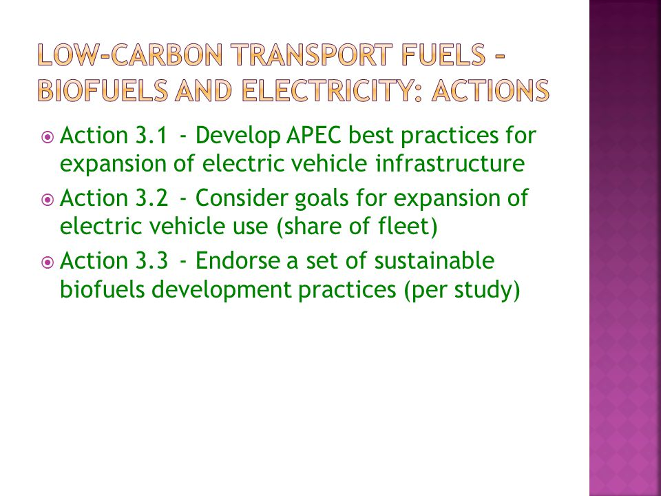  Action Develop APEC best practices for expansion of electric vehicle infrastructure  Action Consider goals for expansion of electric vehicle use (share of fleet)  Action Endorse a set of sustainable biofuels development practices (per study)