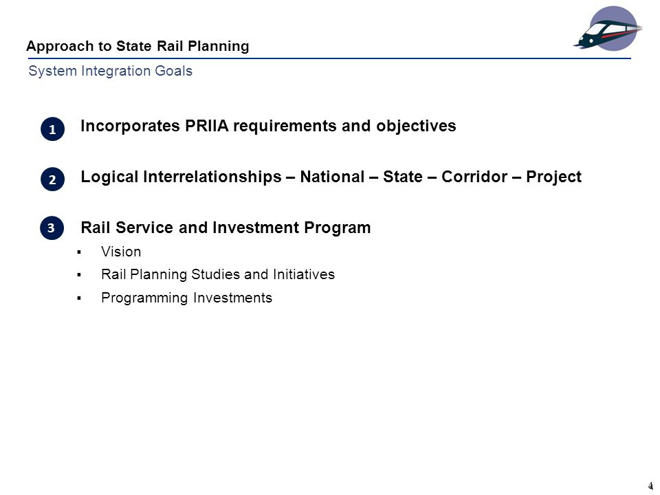 4 Approach to State Rail Planning 4 System Integration Goals Incorporates PRIIA requirements and objectives Logical Interrelationships – National – State – Corridor – Project Rail Service and Investment Program  Vision  Rail Planning Studies and Initiatives  Programming Investments 3 1 2