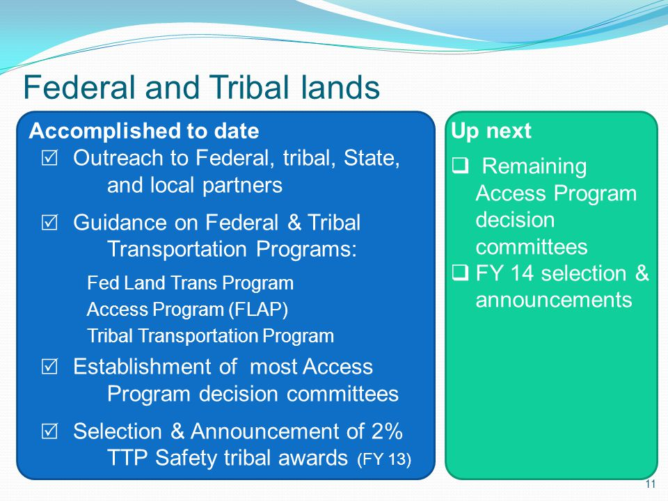 11 Accomplished to date Up next  Remaining Access Program decision committees  FY 14 selection & announcements Federal and Tribal lands  Outreach to Federal, tribal, State, and local partners  Guidance on Federal & Tribal Transportation Programs: Fed Land Trans Program Access Program (FLAP) Tribal Transportation Program  Establishment of most Access Program decision committees  Selection & Announcement of 2% TTP Safety tribal awards (FY 13)
