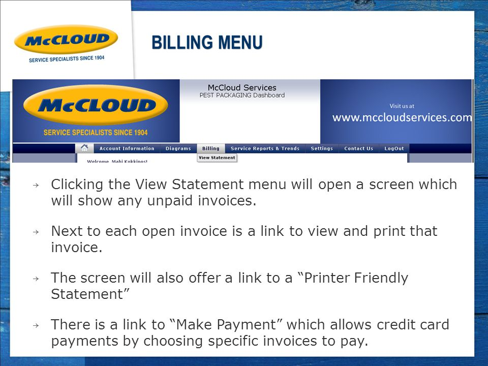 → Clicking the View Statement menu will open a screen which will show any unpaid invoices.