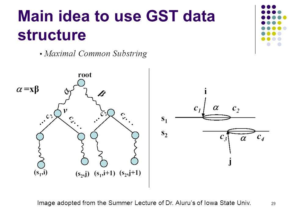 29 Main idea to use GST data structure Image adopted from the Summer Lecture of Dr.