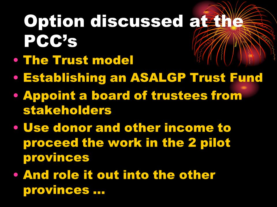 Option discussed at the PCC's The Trust model Establishing an ASALGP Trust Fund Appoint a board of trustees from stakeholders Use donor and other income to proceed the work in the 2 pilot provinces And role it out into the other provinces …