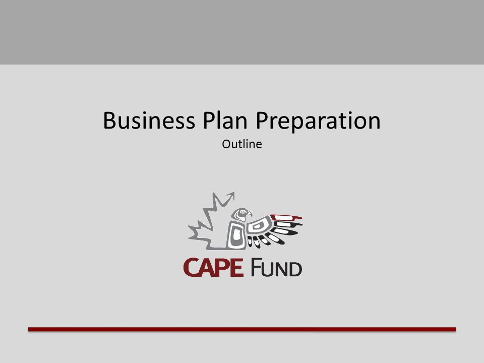 Business Plan Preparation Outline. Business Plan Preparation Guide