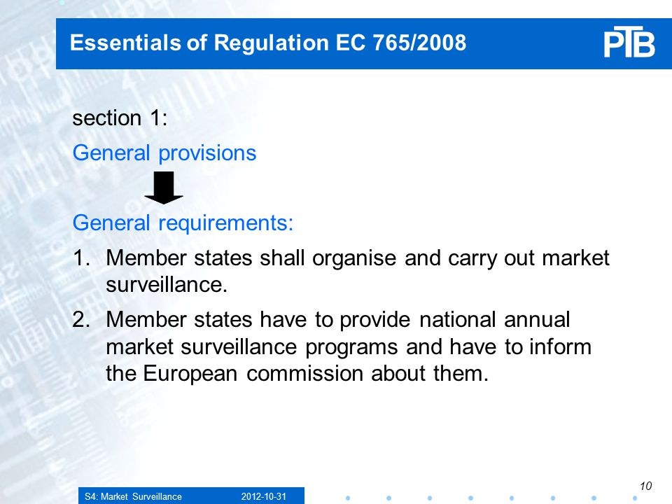 S4: Market Surveillance Essentials of Regulation EC 765/2008 section 1: General provisions General requirements: 1.Member states shall organise and carry out market surveillance.