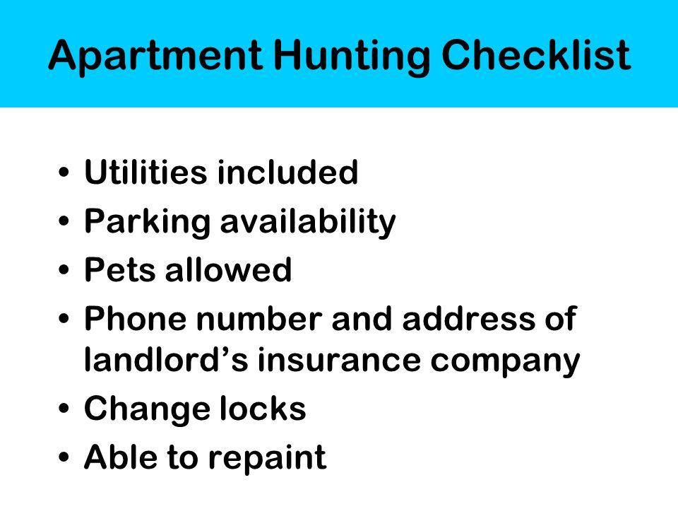 apartment hunting checklist