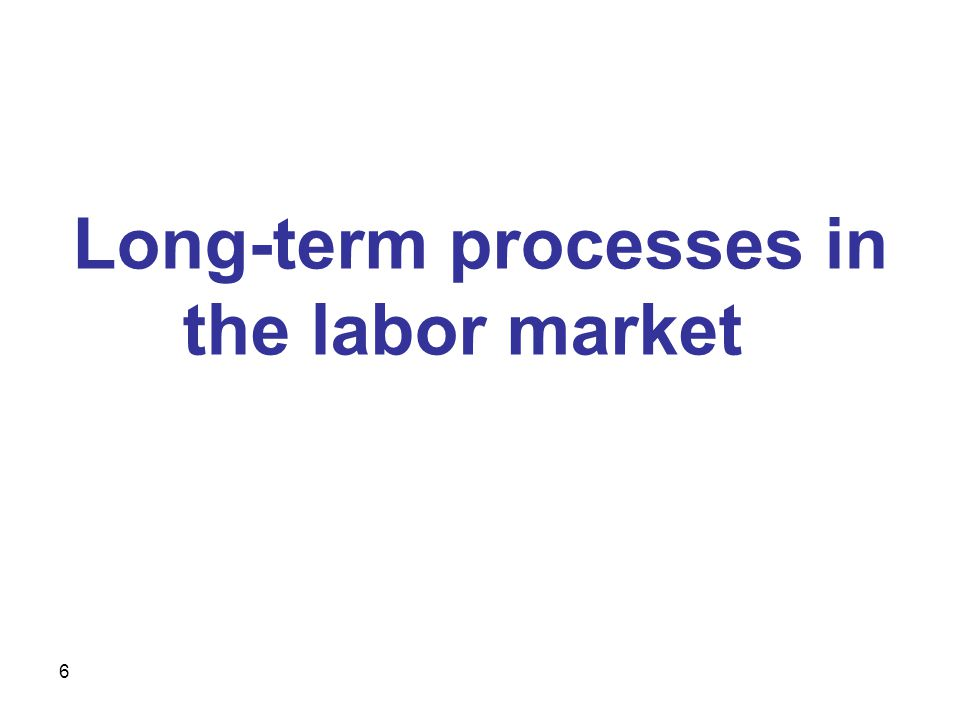 6 Long-term processes in the labor market