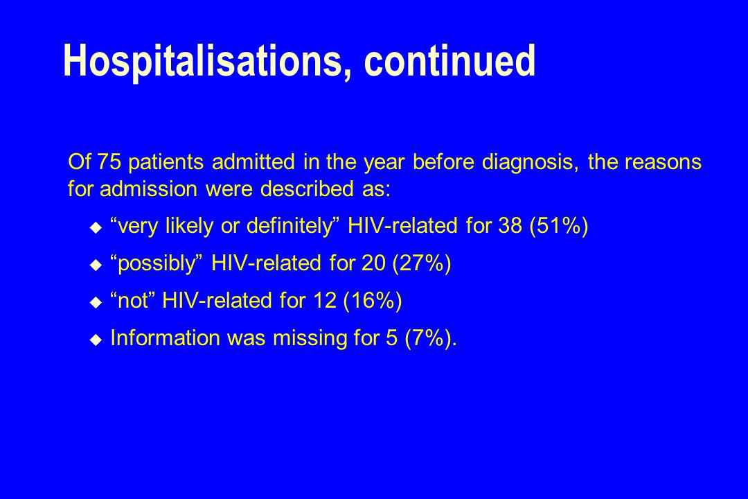Hospitalisations, continued Of 75 patients admitted in the year before diagnosis, the reasons for admission were described as:  very likely or definitely HIV-related for 38 (51%)  possibly HIV-related for 20 (27%)  not HIV-related for 12 (16%)  Information was missing for 5 (7%).