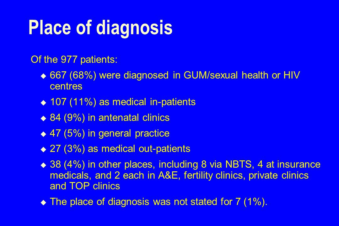 Place of diagnosis Of the 977 patients:  667 (68%) were diagnosed in GUM/sexual health or HIV centres  107 (11%) as medical in-patients  84 (9%) in antenatal clinics  47 (5%) in general practice  27 (3%) as medical out-patients  38 (4%) in other places, including 8 via NBTS, 4 at insurance medicals, and 2 each in A&E, fertility clinics, private clinics and TOP clinics  The place of diagnosis was not stated for 7 (1%).